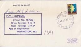 Polaire Néozélandais, N° 513 (puriri) Obl. Raoul Is., Kermadec Is. Le 12 OC 73 + Cachet M.V. Holmburn Et Signature - Lettres & Documents