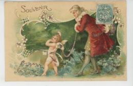 """ENFANTS - ANGES - Jolie Carte Fantaisie Gaufrée Avec Paillettes Angelot """"Souvenir """" (embossed Postcard) - Dessins D'enfants"""