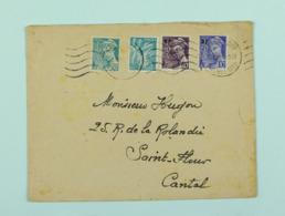 Lettre Avril 1945  Malakoff --> St-Flour, Affr. 2f Mercure Surchargé YT 657, 659, Mercure 549, Iris 650 Omec Krag - France