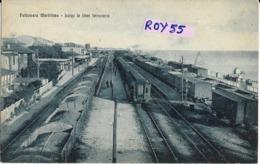 Marche-ancona-falconara Marittima Stazione Ferroviaria Veduta Treni  Lungo La Linea Ferroviaria Primi 900 (picc/v.retro) - Altre Città