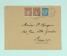 Lettre Janv. 1945  St-Flour --> Paris, Affr. 1 F 50 Paire Arc Triomphe 622, Iris 650 - France