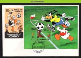 Nfe0701b WALT DISNEY GOOFY DONALD VOETBAL SOCCER FOOTBALL WORLD CUP ESPANA 82 DOMINICA 1982 FDC - Disney