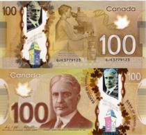 "CANADA 100 DOLLAR 2011 ""2016"", P110, Sir Robert Borden, Polymer, UNC - Canada"
