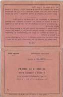 DOCUMENT   ADMINISTRATIF D'IDENTITÉ PERMIS DE CONDUIRE NAVIRES A MOTEUR - 100 CV MARINE MARCHANDE QUARTIER ALGER - Alte Papiere