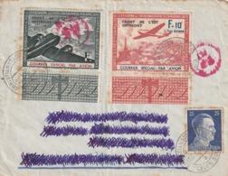 Lettre Avec Timbre LVF 4 Et 5 Plus Timbre Allemand Oblitéré De Christianstadt 1943 Avec Cachet De Censure RRR - Marcophilie (Lettres)