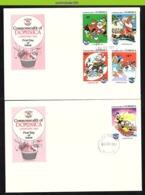 Nfe0712b  WALT DISNEY KERST TREIN TRAIN CHRISTMAS SANTA CLAUS SLED DONALD DOMINICA 1984 FDC's - Disney