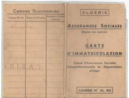 DOCUMENT ADMINISTRATIF D'IDENTITÉ CARTE ASSURANCES SOCIALES  RÉGIME NON AGRICOLE CAISSE ASSURANCES ALGER - Non Classés