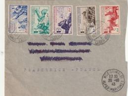 Lettre Avec Timbre LVF 6 A 10 Oblitéré De Christianstadt 1943 Avec Cachet D Arrivée A Nice - Poststempel (Briefe)