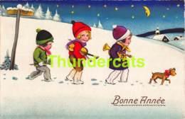 CPA ILLUSTRATEUR DESSIN ENFANT CHROMOLITHO CARD CHILDREN CHIEN DOG - Dessins D'enfants