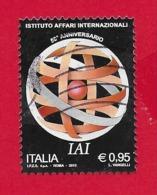 ITALIA REPUBBLICA USATO - 2015 - 50º Anniversario Fondazione Istituto Affari Internazionali - IAI - € 0,95 - S. 3644 - 6. 1946-.. Republic