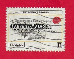 ITALIA REPUBBLICA USATO - 2018 - 150º Anniversario Della Fondazione Della Cantina Carpenè Malvolti - € B - S. 3827 - 1946-.. Republiek