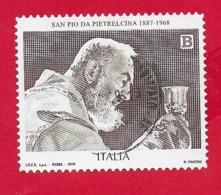 ITALIA REPUBBLICA USATO - 2018 - 50º Anniversario Della Morte Di S.Pio Da Pietrelcina - € B - S. 3845 - 6. 1946-.. Repubblica