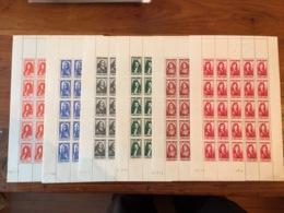 YV 612 à 617 N** En Feuille Complete De 25 Timbres , Serie Complete Des Celebrites 1944 - Feuilles Complètes