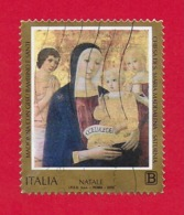ITALIA REPUBBLICA USATO - 2018 - NATALE RELIGIOSO - Madonna Con Gesù Bambino Di Benvenuto Di Giovanni - € B - S. 3861 - 6. 1946-.. Repubblica