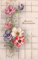 Heureux Anniversaire : Pensées : Edit. PHOTOCHROM N° 1812 - Glaçée - Traits En Relief Doré  ( Voir RECTO - VERSO ) - Cumpleaños