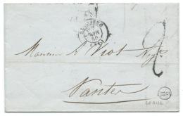 MARQUE POSTALE SAINT BRIEUC POUR NANTES / 1850 / BOITE H2 LEGUE - Marcophilie (Lettres)