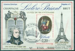FRANCE Champagne LECLERC BRIAND étiquette Numérotée Avec Tp Révolution Et Ct GF 1991 Superbe Et Rare - Vins & Alcools