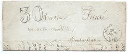 MARQUE POSTALE MONTREDON LABESSONNIE TARN POUR MONTAUBAN / 1857 TAXE 30 DOUBLE TRAIT - Marcophilie (Lettres)