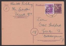 Fernkarte Ganzsache Berlin-Spandau Berliner Bär 6 Pf. Mit Zusatzfrankatur Portogenau Nach Gera - Soviet Zone