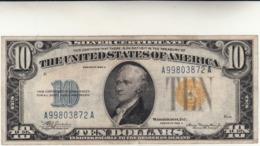 Banconota Da 10 Dollari USA 1935 A - Giallo Africa - Certificaten Van Zilver (1928-1957)