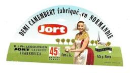ETIQUETTE De FROMAGE..Demi CAMEMBERT Fabriqué En NORMANDIE..JORT..B & PH LEBOUCHER à JORT (Calvados 14) - Formaggio
