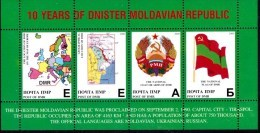 2000 Transnistria (Moldova) - 10 Years Independence 4v., Coat Of Arms, Flag, Map Local MNH - Moldavië