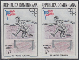 Dominican Republic 1957 - Olympic Games In Melbourne: Didrickson, Hurdling, Athletics - Imperforate Pair Mi 567 ** MNH - Summer 1956: Melbourne