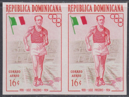 Dominican Republic 1957 - Olympic Games In Melbourne: Frigerio, Race Walking, Athletics - Imperforate Pair Mi 566 ** MNH - Summer 1956: Melbourne