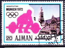 Ajman - Olympiade München (Neues Rathaus; Gewichtheben) (MiNr. 736) 1971 - Gest Used Obl - Ajman