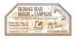 ETIQUETTE De FROMAGE.. FROMAGE Frais Maigre De CAMPAGNE. SAINT LO THERE ( Manche 50) - Quesos