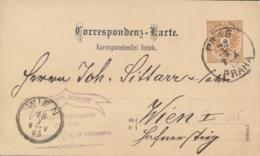 Austria 1885 Postal Stationery Postcard 2 Kr. From Prague To Vienna - Interi Postali