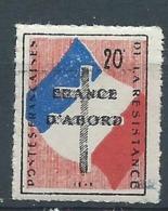 3167 - Vignette Errinophilie Postes Françaises De La Résistance 1943 FRANCE D'ABORD - RARE WW2 - Libération