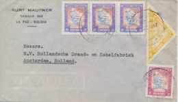 Bolivia 1947 Airmail Cover To Netherlands With Airmail Stamps 3 X 20 Cts + 3 Bol. + 10 Bol. Eucharistic Congress - Bolivia