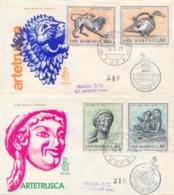 San Marino 1971 FDC VENETIA Arte Etrusca Su Due Buste Raccomandate Viaggiate Archeology Etruscan Art - Archaeology