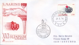 San Marino 1976 FDC CAPITOLIUM 21° Olimpiade Estiva Montreal 21th Summer Olympic Games Busta Viaggiata Posted Cover - Estate 1976: Montreal