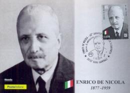 Italia 2019 FDC Maximum Card 60° Anniversario Morte Enrico De Nicola Presidente Della Repubblica Annullo Roma Quirinale - Celebrità
