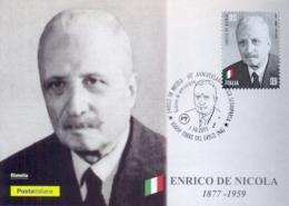Italia 2019 FDC Maximum Card 60° Anniversario Morte Enrico De Nicola Presidente Della Repubblica Annullo Torre Del Greco - Celebrità