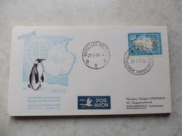 Belgique  Lettre Expedition Antarctique 1963/95 Bruxelles A La Base 1964 Pole Sud Roland Grumiaux - Brieven En Documenten