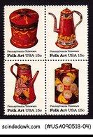 UNITED STATES USA - 1979 FOLK ART PENNSYLVANIA TOLEWARE SE-TENANT 4V MNH - Unused Stamps