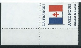 3175 - Coin La France Avec Nous Général De Gaulle Vignette Errinophilie Libération WW2 - Libération