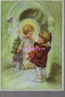REF 438 : CPSM Joyeux Noel Petite Fille Et Ange Carte Effet Argentée - Noël