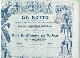 Titre Ancien - La Kotto - Société Anonyme - Titre De 1907 - Déco - Afrika