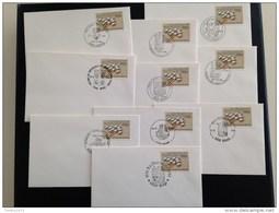 10 Envlopjes Met Nr 2231 Vershillende Afstempelingen - Postmark Collection