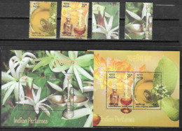 INDIA, 2019, MNH, FLOWERS, PERFUMES, SANDALWOOD, JASMINE, SCENTED STAMPS, 4v+ 2 S/SHEETS - Plants