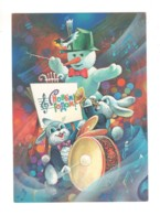 02995 Soviet Russia USSR Happy New Year Snowman Hares Orchestra Treble Clef - Anno Nuovo