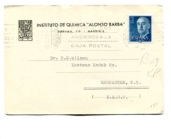 """ESPAÑA COMMERCIAL COVER - CIRCULATED FROM """"INSTITUTO DE QUIMICA ALONSO BARBA"""" MADRID TO U.S.A.. YEAR 1961 -LILHU - 1931-Hoy: 2ª República - ... Juan Carlos I"""