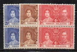 CI158 - BRITISH VIRGIN ISLANDS 1937 , Serie Yvert N. 71/73 COPPIA ***  MNH Incoronazione - British Virgin Islands