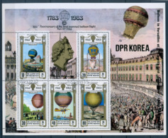 Korea North DPR Korea 1982 200th Anniversary Of Manned Flight Balloons 200 Jahre Luftfahrt Aviation S/S CTO - Verkehr & Transport