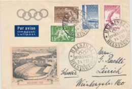 Olympia 1952 - Luftpostbrief Ab Helsinki Nach Zürich - Winter 1952: Oslo