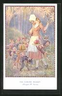 Künstler-AK Margaret W. Tarrant: The Goblins` Market, Kobolde Und Eule Bieten Einem Mädchen Ihre Waren An - Vögel